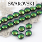 5860 Swarovski  Crystal Scarabeus Green Coin Pearl 10mm [2szt]