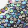 Lentil Beads Crystal Graphite Rainbow Etched 8mm [20szt]