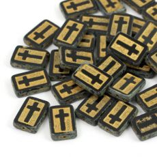 Cross Beads Jet Gold 17x11mm