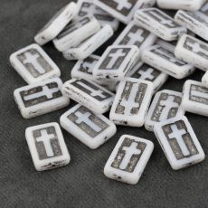 Cross Beads White Jet 17x11mm