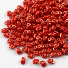 SuperDuo 2.5x5mm Gold Marbled Opaque Red [10g]