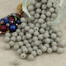Round Beads Opaque Grey Matted 4mm [50szt]