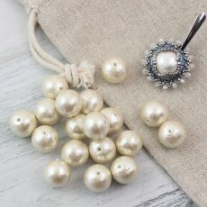 Miyuki Cotton Pearls Off - White kula 12mm