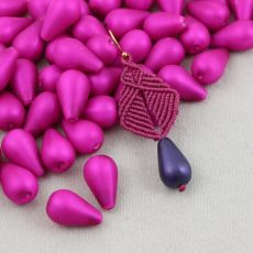Drop Beads Velvet Hot Pink 18x11mm [4szt]