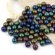 Round Beads Jet Iris Rainbow 6mm [20szt]