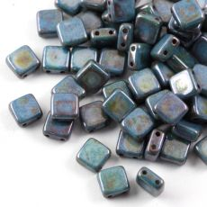 Square 6x6mm Alabaster Blue Luster [10szt]