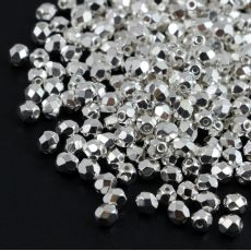 Fire Polish 4mm Crystal Silver Plated [20szt]