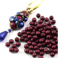 Round Beads Velvet Burgundy Wine 4mm [50szt]