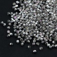 Fire Polish 2mm Crystal Silver Rainbow [80szt]