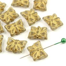 Butterfly Beads Crystal Gold 15x12mm