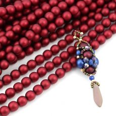 Round Beads Velvet Sangria Red 6mm [sznur/80szt]