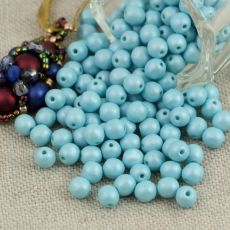 Round Beads Alabaster Turquoise Powdery 4mm [50szt]