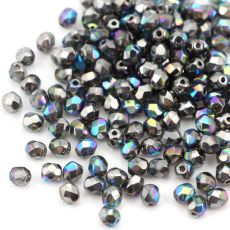 Fire Polish 4mm Crystal Glittery Graphite [20szt]