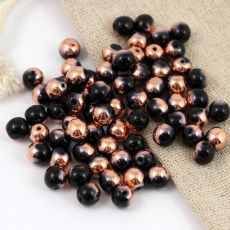 Round Beads Jet Capri Gold 6mm [20szt]