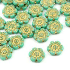 Anemone Flower Beads Opaque Turquoise Green Gold Patina 14mm [1szt]