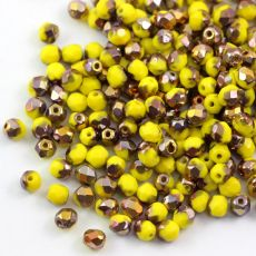 Fire Polish 4mm Yellow 1/2 Coated Copper [20szt]