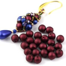 Round Beads Velvet Burgundy Wine 6mm [20szt]