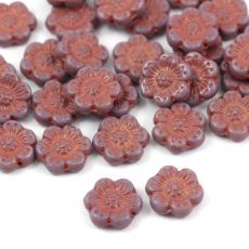 Anemone Flower Beads Opaque Amethyst Pink Patina 14mm [1szt]