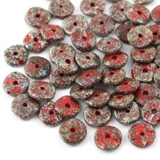Ripple Beads 12mm Coral Red Picasso Etched [10szt]