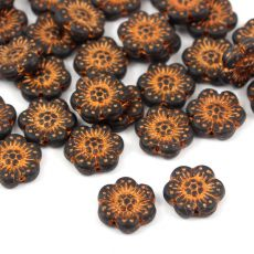 Anemone Flower Beads Jet Bronze Patina Mat 14mm [1szt]