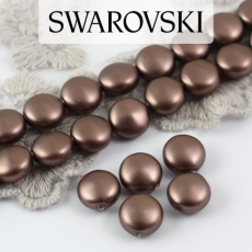 5860 Swarovski Crystal Velvet Brown Coin Pearl 10mm [2szt]