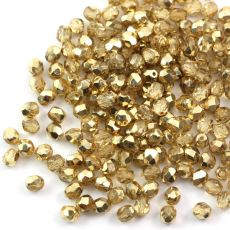 Fire Polish 3mm Gold 1/2 Coated Crystal [40szt]