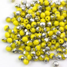 Fire Polish 4mm Yellow 1/2 Coated Silver [20szt]