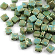 Square 6x6mm Opaque Turquoise Blue Picasso [10szt]