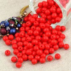 Round Beads Opaque Red 4mm [50szt]