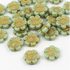 Anemone Flower Beads Opaque Green Gold Patina 14mm [1szt]