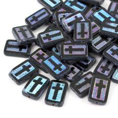 Cross Beads Jet AB 17x11mm