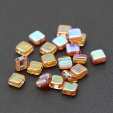 Square 6x6mm Crystal Orange Rainbow [10szt]