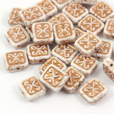 Patina Brick Beads Chalk White Copper 12x11mm [1szt]