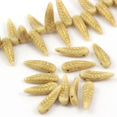 Bird Feather Beads Beige Gold 5x17mm [6szt]