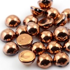 Dome Bead półkula 10x6mm Jet Capri Gold Full