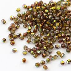 Fire Polish 3mm Crystal Magic Green [40szt]