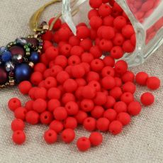 Round Beads Opaque Red Matted 4mm [50szt]
