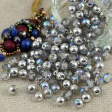 Round Beads Crystal Silver Rainbow 4mm [50szt]