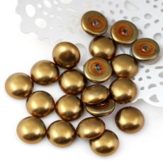 Glass Pearl Cabochon Brass Gold 10mm