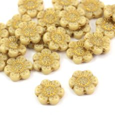 Anemone Flower Beads Opaque Beige Gold Patina 14mm [1szt]