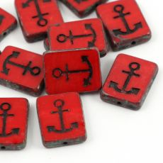 Anchor Beads Opaque Red Travertine Jet 15x12mm