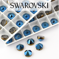 5062 Swarovski Metallic Blue Round Spike Bead 7,5mm - 2 hole [2szt]