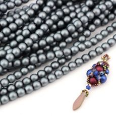 Round Beads Velvet Steel 6mm [sznur/80szt]