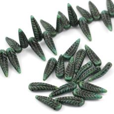 Bird Feather Beads Turquoise Green Travertine/Black 5x17mm [6szt]