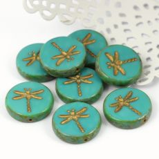 Dragonfly Beads Opaque Turquoise Travertine 17mm