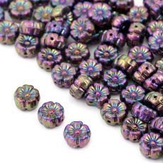 Flower Beads Primula Jet Purple Iris 8x5mm [10szt]