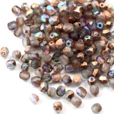 Fire Polish 4mm Crystal Etched Copper Rainbow [20szt]