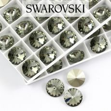 1122 Swarovski Rivoli 12mm Black Diamond