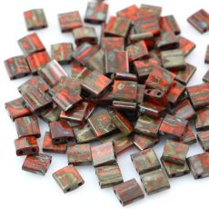 Miyuki Tila Beads 5x5x1,9mm Picasso Opaque Orange [30szt]