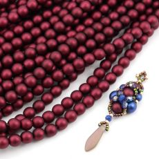 Round Beads Velvet Burgundy Wine 6mm [sznur/80szt]